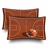 InterestPrint Boy's Sports Basketball Court Wood Kids Playtime Pillow Cases Pillowcase Standard Size 20x30 Set of 2, Rectangle Pillow Covers Protector for Home Couch Sofa Bedding Decorative