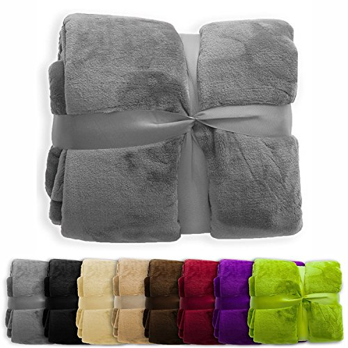 (casa pura Fleece Throw Blanket | Plush Blanket Throw for Couch or Twin Size Bed | Super Soft & Cozy Fur Blankets | Various Sizes and Colors | Grey -)