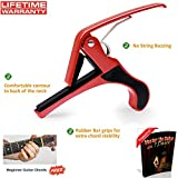 Quick change Guitar Capo Single Handed Use - Red Capo - Also available Guitar Capo Purple Capo - Guitar Capo Silver Capo - Guitar Capo Gold Capo - Guitar Capo Blue Capo