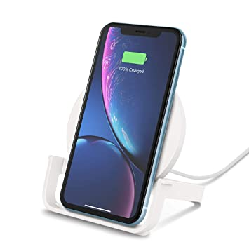 Belkin Boost Up 10 W - Cargador Inalámbrico Qi para iPhone XS, XS Max, XR, X, 8, 8+/Samsung Galaxy S10, S10+, Note9 y otros, color blanco