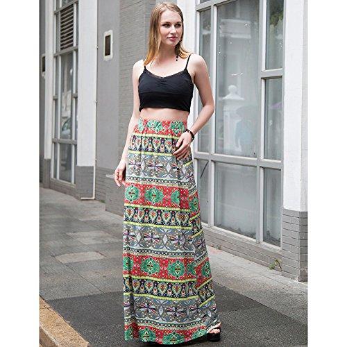 Mujeres Casual Bohemia Alta Waisted Hippie falda playa largo Maxi vestido Green/Red