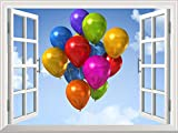 wall26 Removable Wall Sticker/Wall Mural - Coloreful Air Balloons Floating on Blue Sky | Creative Window View Home Decor/Wall Decor - 36''x48''