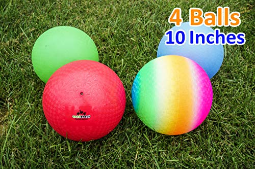 Playground Balls 10 inch Dodgeball (Set of 4) Kickball for Boys Girls Kids Adults - Official Size Bouncy Dodge Ball, Handball, Four Square Picnic School + Free Pump ()