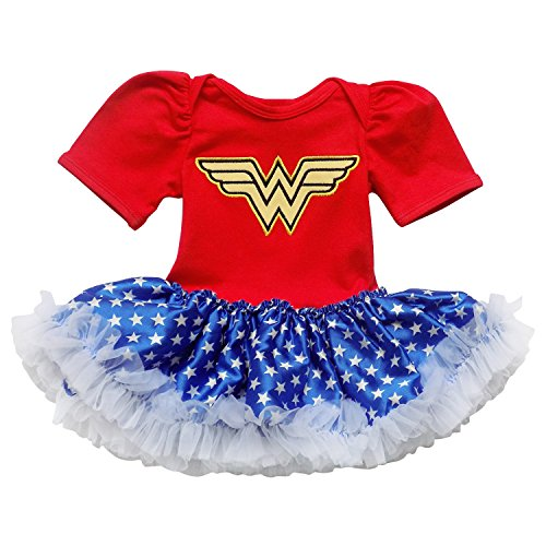 Superhero Outfit Women (So Sydney Baby Girls Tutu Chiffon Ruffle Skirted Onesie Superhero Romper (S (3-6 Months), Blue & Red (Wonder Woman)))