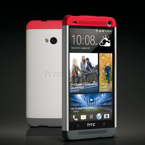 HTC Double Dip Case for HTC M7 - Retail Packaging - Grey/Red