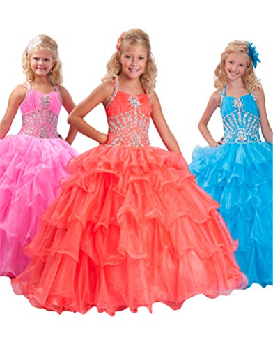 GreenBloom Crystals Girls' Halter Crystals Corset Dance Party Dresses Blue 4