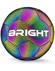 BRIGHT™ Lichtgevende Voetbal - Reflecterend - Holografisch - Glow in the Dark - Kinderen en Volwassenen - Unisex - Wit/Zwart/Roze/Blauw/Geel - Maat 5