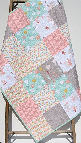 Baby Girl Quilt Bunnies Flowers Tulips Dots Aztec Littlest Pastel Shabby Chic Crib Bedding Nursery Coral Pink Mint Green Grey Gray Gold