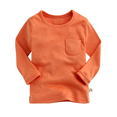 Agibaby Boys and Girls Infant & Toddler Long Sleeve Basic Pocket T-shirt (S(12-24months), Orange)