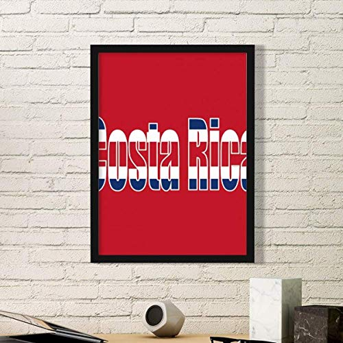(DIYthinker Costa Rica Country Flag Name Art Painting Picture Photo Wooden Rectangle Frame Home Wall Decor)