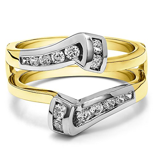Classic Bypass Twist Style Jacket Ring Guard with 0.32 carats of Cubic Zirconia in Two Tone Sterling Silver