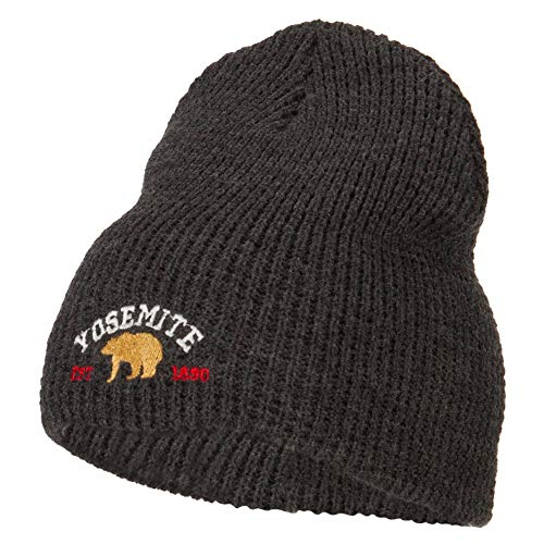 Yosemite National Park Embroidered Big Stretch Waffle Short Beanie - Charcoal OSFM