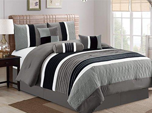 JBFF 7 Piece, Collection Bed in Bag Luxury Stripe Microfiber Comforter Set, King, Grey