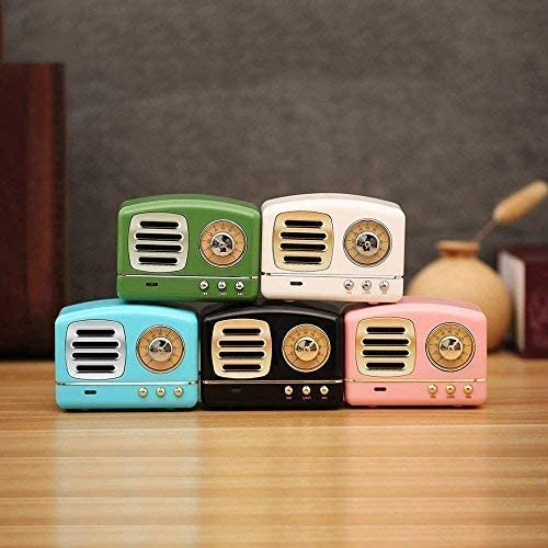 Dosmix Wireless Stereo Retro Speakers, Portable Bluetooth Vintage Speakers with Powerful Sound, Answering Calls, Alexa Support, TF Card, AUX for Kitchen Bedrooms Party Outdoor Android iOS Pink 51tbC XtGGL