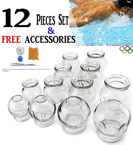 拔罐 12 pcs Thick Glass Cupping Set for Professionals (2 Cups #5 ~2.87