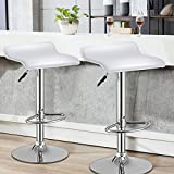 countertop overhang for bar WATERJOY Bar Stools, Set of 2 Swivel Bar Dining Chair, Adjustable PU Leather Backless Breakfast Stools Chair White