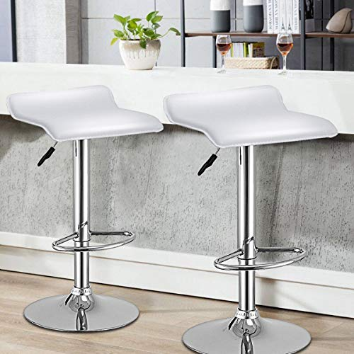 WATERJOY Bar Stools, Set of 2 Swivel Bar Dining Chair, Adjustable PU Leather Backless Breakfast Stools Chair White (Bar Chair Stool Adjustable)