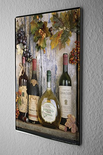Metal Bottle Wine Grapes (Nostalgic Tin Sign Alcohol Retro Deco Wine bottle grapes Metal Plate 8X12)