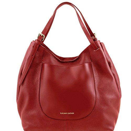Tuscany Leather Cinzia - Borsa shopping in pelle morbida - TL141515 (Nude) Rosso