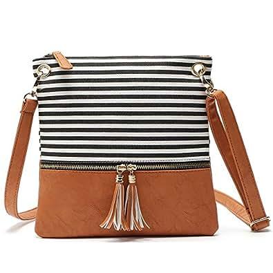 Duketea Stripe Medium Crossbody Purse, Canvas + Faux Leather Crossover Shoulder Bag Black Size: Medium
