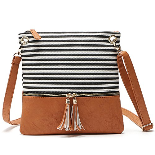 Bag Stripe Purse Medium Faux Black Canvas Duketea Crossover Crossbody Leather Shoulder zgPnAgF