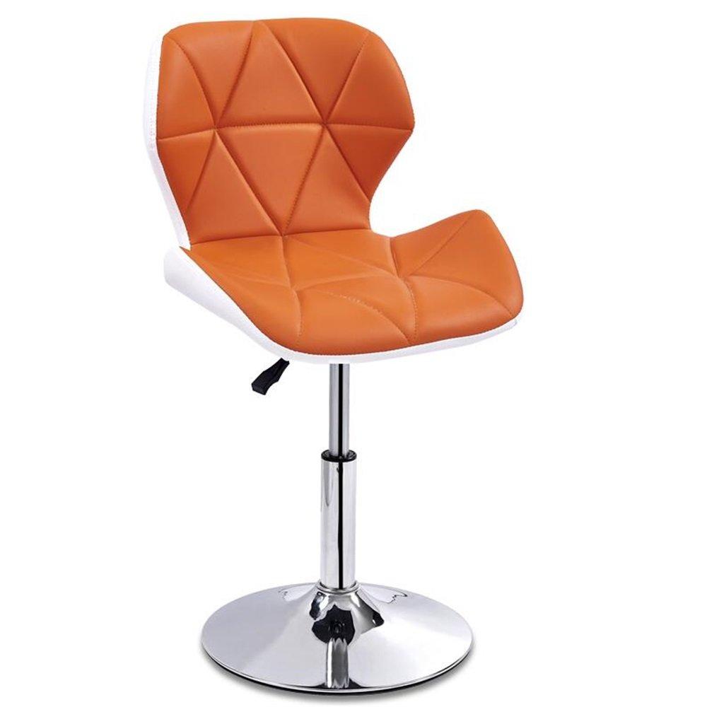 カウンターチェアハイスツールバーキッチン朝食ダイニングチェアは上下に昇降できます/ビジネスホールの椅子を回転できます(外側:白、内側:オレンジ) (色 : #1) B07DK7PG2W#1