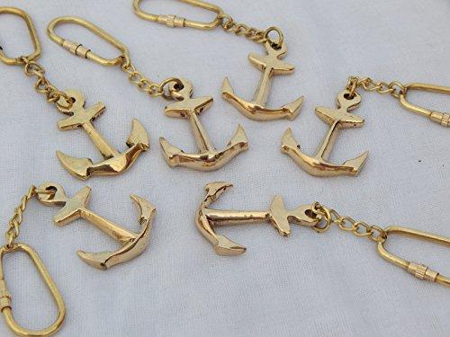 Royalexports Brass Vintage Maritime Nautical Anchor Key Ring set of 6 pcs from Royalexports