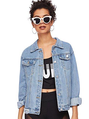 MakeMeChic Women's Boyfriend Denim Jacket Distressed Long Sleeve Jeans Coat Blue XL -