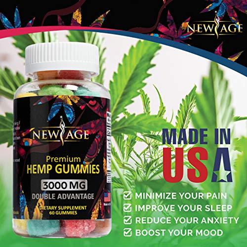 51tbDXR%2BYVL - (2 Pack) New Age Naturals Advanced Hemp Big Gummies 3000mg 120ct - 100% Natural Hemp Oil Infused Gummies