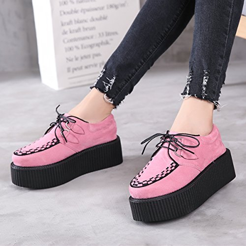 Creeper Punk Gothique Femmes Lacets Oxfords Rose Chaussures Roseg Cuir Plateaforme qwPXIIY