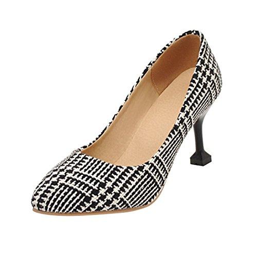 YE Damen Stiletto High Heels Spitze Pumps Elegant Schuhe Schwarz-Weiß