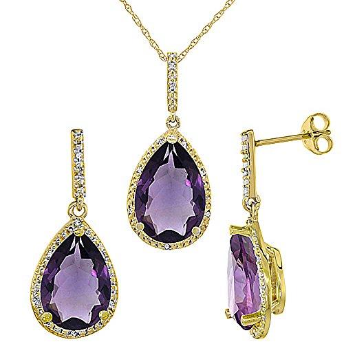 Jewellery World Bague en or jaune 9carats Pendentif Forme de poire Améthyste naturelle et Accents de diamants boucles d'oreilles