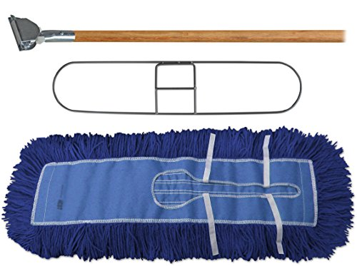 "Dust Mop Kit 60"" : (1) 60"" Blue Industrial Dust Mop, (1) 60"" Wire Dust Mop Frame & (1) Wood Dust Mop Handle Clip-on Style"