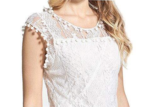 Vestido de Verano Mini Falda Mujer Lace Casual Elegante Boda Playa Fiesta Noche Cóctel Encaje sin Mangas Escote Croché Blanco-LATH.PIN Blanco