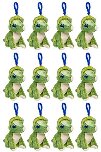 Wildlife Tree 12 Pack Triceratops Stuffed Animal, Backpack Clip Toy Keychain, 4 Inch Plush Kids Party Favors ()