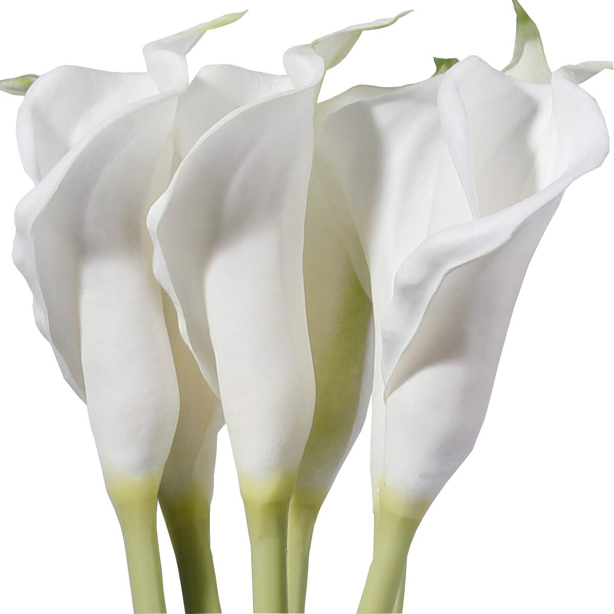 M&A Decor 25'' Large Calla Lily Bulbs 6 PCS White Natural Look Artificial Lillies Flowers with Long Stem for Wedding Party Tall Vase Table Centerpiece Decoration by M&A Decor