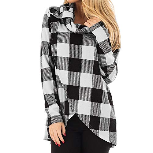 2018 Women Pullover Bow Blouse,Ladies Autumn Casual Long Sleeve Striped Cowl Neck Top (L, Gray)