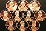 1990 to 1999 Lincoln Memorial Cents - 10 Coins