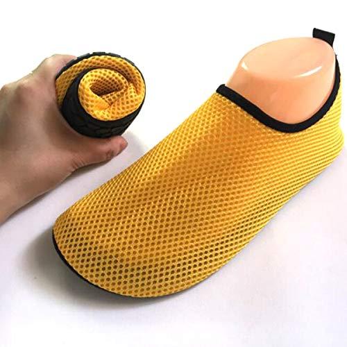 Tenozek Unisex Paired Beach Mesh Flat Shoe Summer Breathable Swimming Snorkeling Sandal Water Shoe Yellow L
