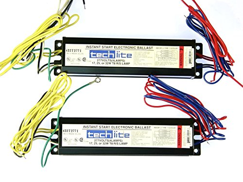 2x TECH-LITE Instant Start Electronic Ballast T8 Lamps 277V Volts ()