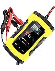 AVEDISTANTE Cargador de Batería Coche Moto 6A 12V LCD Pantalla, Automático Inteligente Mantenimiento de batería con Múltiples Protecciones para Automóviles, Motocicletas, ATVs, RVs, Barco