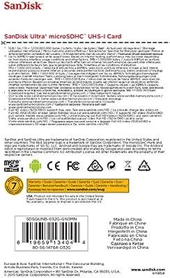 Tarjeta de memoria SanDisk Ultra Android 32 GB microSDHC UHS-I, velocidad de lectura hasta 48 MB/sy Clase 10