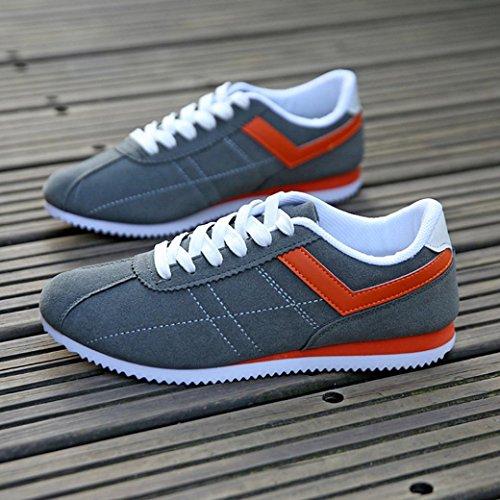 Sikye Herren Freizeitschuhe Flock Striped Leichte Sportschuh Fashion Lace-up Sneaker Grau