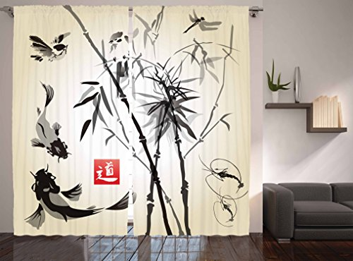 Ambesonne Japanese Curtains, Artistic Birds Fishes and Bamboo Leaves Abstract Painting Oriental Style, Living Room Bedroom Window Drapes 2 Panel Set, 108 W X 84 Inches, Black Gray Ivory (Sliding Japanese Doors)