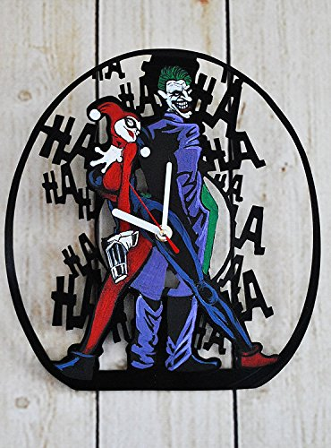 Handmade Comics Supervillains Design HANDPAINTED Vinyl Record Wall Clock - Get Unique Home or Garage Wall Decor - Gift Ideas For His and Her - Superheroes Figures Unique Fan (Sexy Robber)