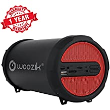 Woozik S213 Wireless Speaker, Outdoor/Indoor Boombox with FM Radio, Built-in Powerbank, SD Card Slot, and Carrying Strap