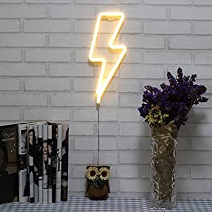 Amazon.com: Neon Signs Lightning Bolt Battery Operated and ...