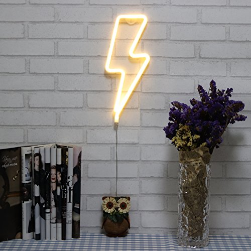 White Lightning Bolt - Neon Signs Lightning Bolt Battery Operated and USB Powered Warm White Art LED Decorative Lights Wall Decor for Living Room Office Christmas Wedding Party Decoration(NELNB)