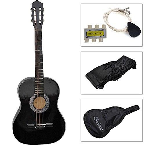 Guitar Acoustic Beginners Pick New Strap Tuner String Case Beginner Folk Black by Alek...