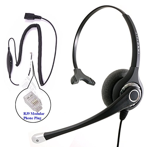 RJ9 Headset - Superb Sound Professional Monaural Headset + Cisco Avaya Panasonic Virtual Compatibility RJ9 Headset Adapter - Gn Netcom Headset Adapter